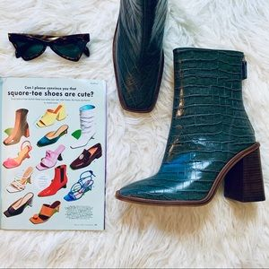 NEW Topshop Hertford Crocodile Effect Leather Boot